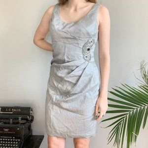 Adrianna Papell silver cocktail sheath dress